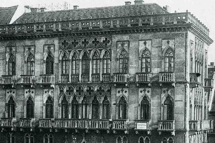 """Das """"Venezianische Haus"""" entstand um 1845 nahe der heutigen Carolabrücke. 1945 zerstört."""