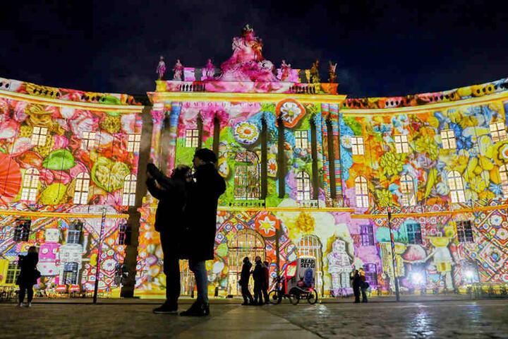 """So schön erstrahlte die Humboldt-Universität im letzten Jahr beim """"Festival of Lights""""."""