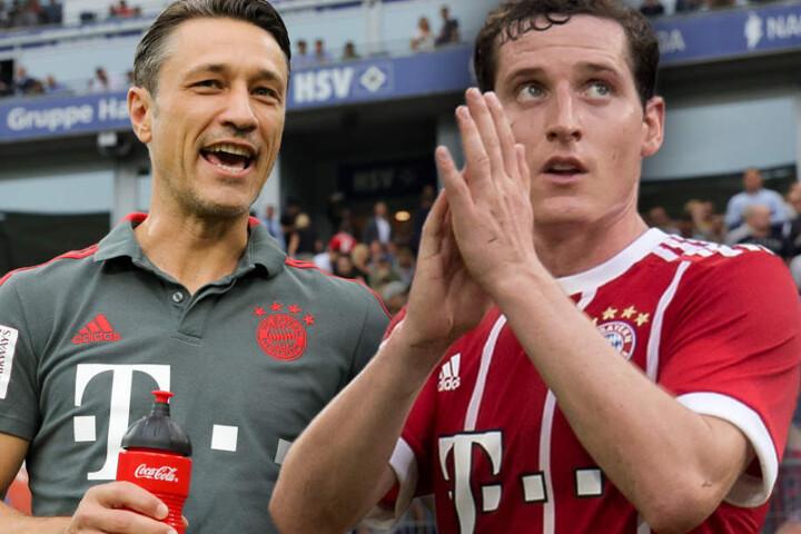 Bayern-Trainer Niko Kovac (l.) plant für die Saison offenbar nicht mehr mit Sebastian Rudy (r.) im Mittelfeld.