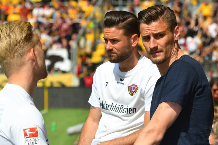 Stefan Kutschke (re.) war eine Woche nach seinem schlimmen Schädel-Hirn-Traum aus dem Karlsruhe-Spiel wieder auf den Beinen.