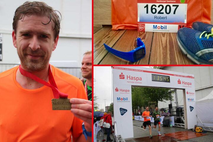 Die Hamburg-Redaktion drückte Robert Stoll beim Lauf des Halbmarathons ganz besonders die Daumen. Der erreichte die Ziellinie mit einer ordentlichen Zeit von einer Stunde und 35 Minuten.