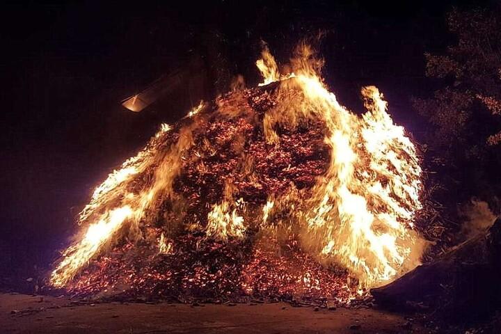 Etwa 250 Kubikmeter geschreddertes Holz standen in Flammen.