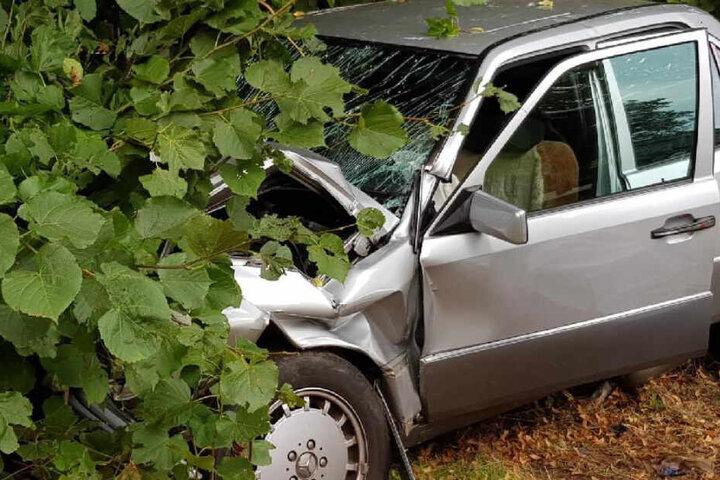 Der Mann kam mit seinem Mercedes von der Straße ab und krachte in einen Baum.