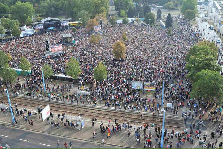 Zum #wirsindmehr-Konzert kamen Anfang September bis zu 70000 Besucher auf den Johannisparkplatz. Haupt-Act waren die Toten Hosen.