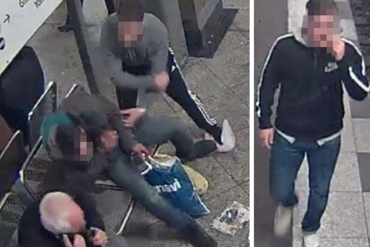 Unbehelligt schulgen und traten sie auf den alkoholisierten Obdachlosen am U-Bahnhof Mehringdamm ein.
