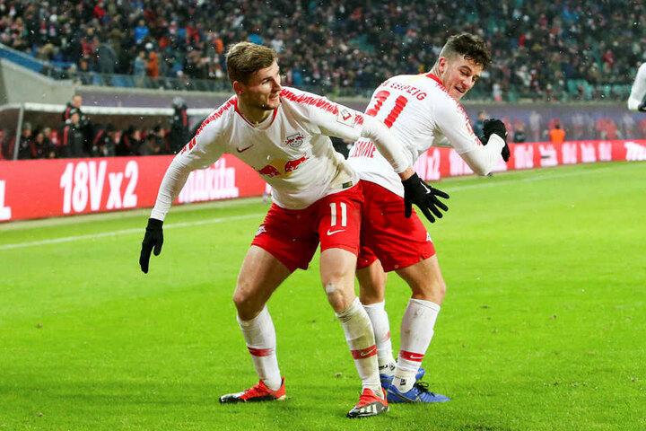 Hat sicher auch schon gratuliert: Stürmer Timo Werner (l.), der mit Demme seinen 3:1-Treffer beim 4:1 gegen Mainz vor zwei Wochen sehr eigenwillig feierte.