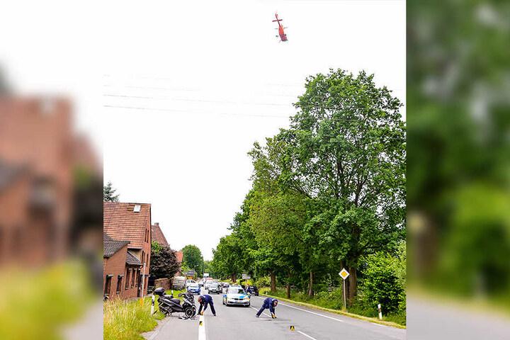 Ein Rettungshubschrauber musste den Verletzten ins Krankenhaus fliegen.