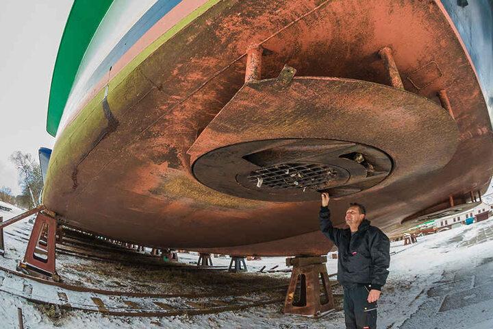 Na, alles noch dicht? Auch der Unterleib des Elbschiffes wird wie beim Auto-TÜV einer intensiven Prüfung unterzogen.