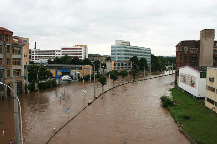 Führen die Flüsse Zwönitz und Würschnitz gleichzeitig Hochwasser, säuft wie  2010 auch das Chemnitzer Zentrum mit ab.
