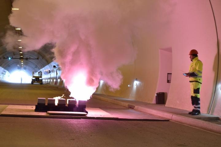 Die Feuerprobe in dem 600 Meter langen Tunnel ist bestanden.