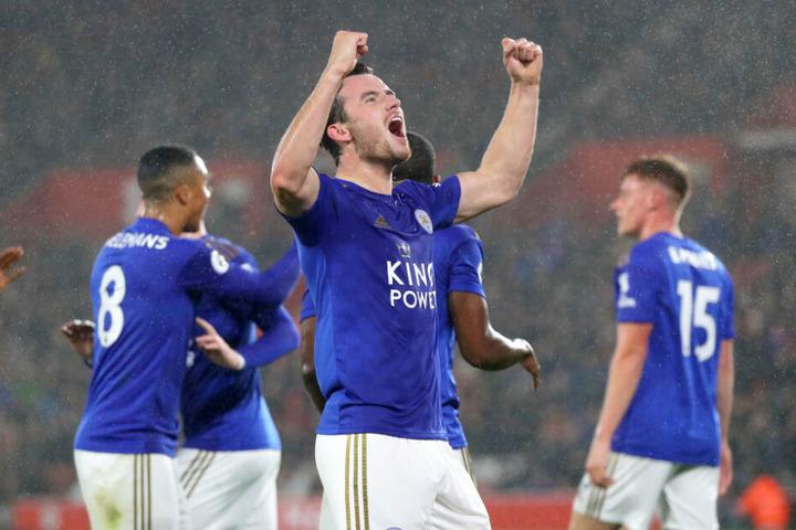 Ben Chilwell von Leicester City feiert sein Tor, das erste im gesamten Spiel.