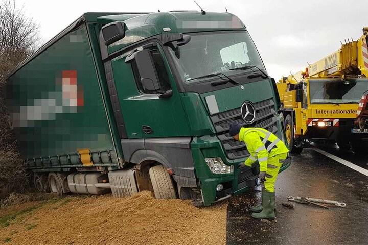 Der Lkw wurde nur leicht beschädigt.