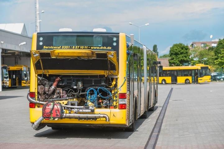 Die Euro-6-Busse der DVB stoßen weniger Stickoxide aus als vergleichbare  Autos der Mittelklasse.
