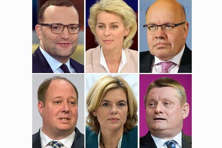 Die künftigen CDU-Mitglieder in einer Bundesregierung bei einer möglichen neuen Koalition mit der SPD: Jens Spahn (oberer Reihe, l-r), Ursula von der Leyen und Peter Altmaier. Helge Braun (mittlere Reihe, l-r), Julia Klöckner und Hermann Gröhe.