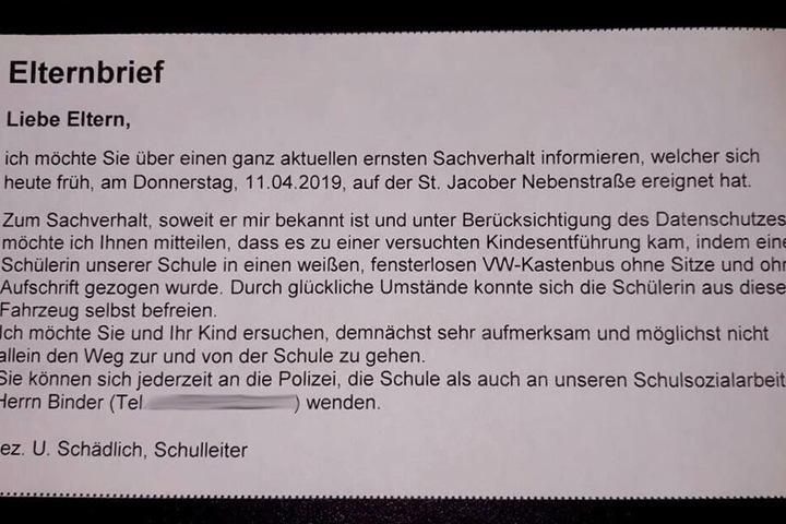 Der Elternbrief der Schule - Durch die Erfundene Entführung des Mädchens wurden viele Eltern beunruhigt.
