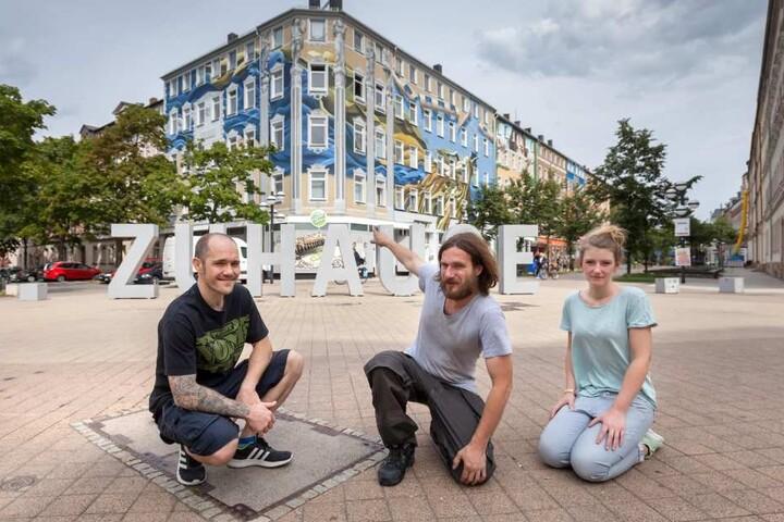 Sie wollen eine Graffiti-Meile am Brühl: Robert Nemeth (35, v.l.), Guido Günther (29) und Melanie Straube.