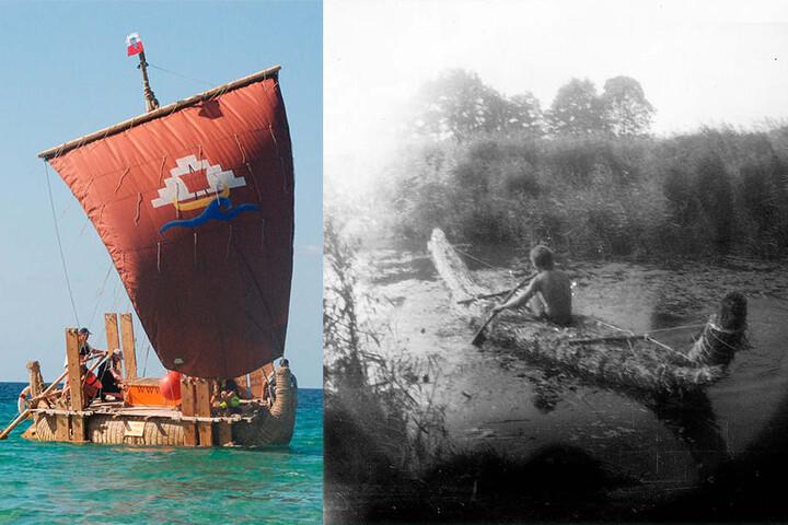 """links: Das Floß """"Dilmun S"""" während eines Segelversuchs. rechts: Dominique Görlitz übt als Jugendlicher mit seinem Steinzeit-Schilfboot Abora."""
