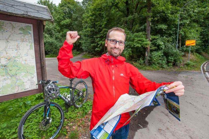 Holger Pansch (41) ist der Projektmanager der Karlsroute. Die soll ab 2019 von Chemnitz bis nach Karlsbad führen.