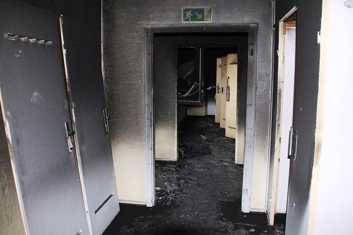 Eine Spur der Verwüstung: Laut Polizei brachen die Brände im Treppenhaus des Elfgeschossers aus.