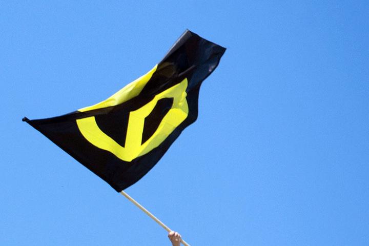 Ein Aktivist schwenkt die Fahne wie ein Fan einer Fußballmannschaft.