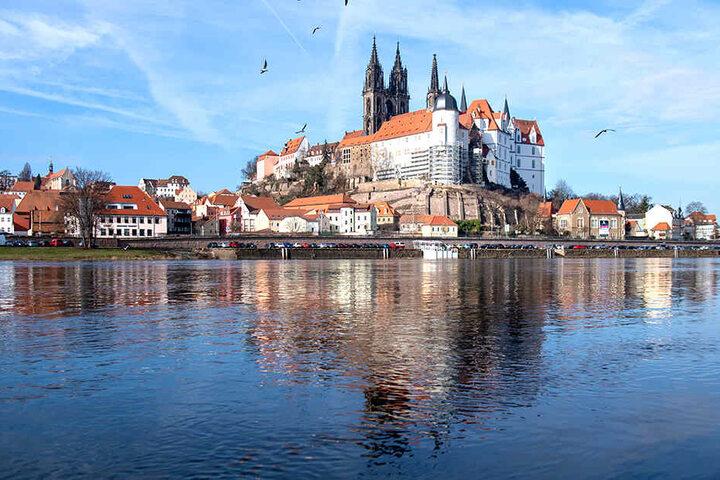 Stadtansicht von Meißen an der Elbe.