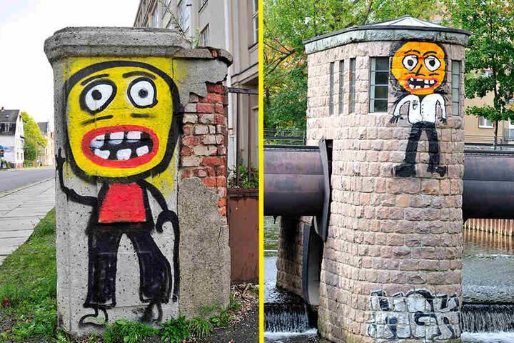 Diese Figur grüßt an einer Eingangssäule zum alten Industriewerk in der Zwickauer Straße (l.). Für eines der jüngsten Monster seilten sich die Spayer am Walzenwehr Georgbrücke ab (r.)