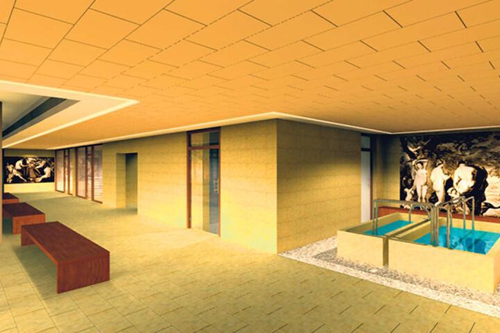 Diese Visualisierung zeigt den künftigen Saunabereich.