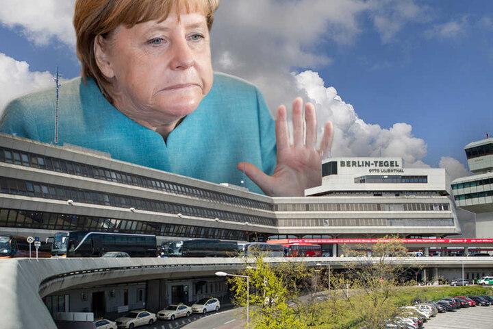 Angela Merkel: Tegel wird nach BER-Eröffnung geschlossen. (Bildmontage)