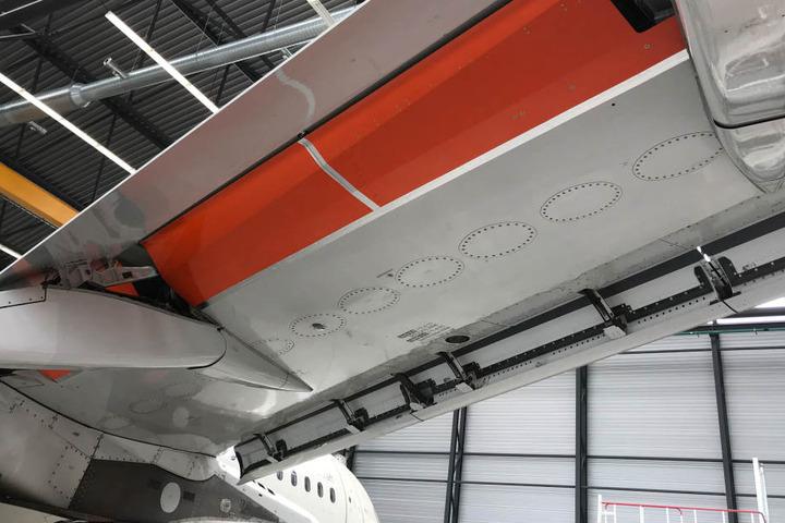 Auch an den Landeklappen sehen die Wissenschaftler Verbesserungsmöglichkeiten und haben zusätzliche Flächen zu Testzwecken eingebaut (orange).