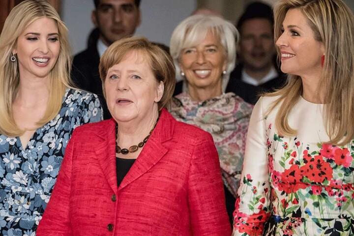 Ivanka Trump, (li) neben der Bundeskanzlerin Angela Merkel (CDU), IWF-Direktorin Christine Lagarde sowie der niederländischen Königin Maxima (re.).