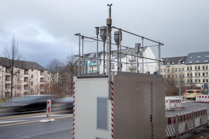 Messstation an der Leipziger Straße: Das Jahresmittel der Feinstaubbelastung  liegt an stark befahrenen Straßen bei rund 70 Prozent der Grenzwerte.