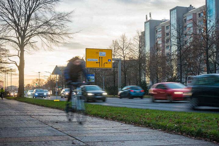 Auf der Albertstraße soll der Radweg auf die Straße kommen, eine Spur für  Autofahrer wegfallen.