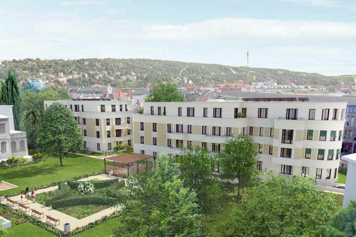 So soll künftig die Seniorenwohnanlage an der Naumannstraße in Blasewitz aussehen.