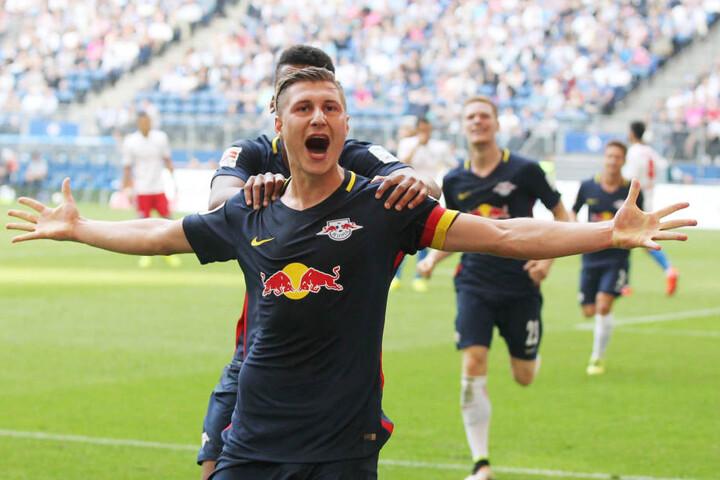 Am Dienstag wollen die RB Leipzig-Spieler auch gegen Mönchengladbach jubeln.