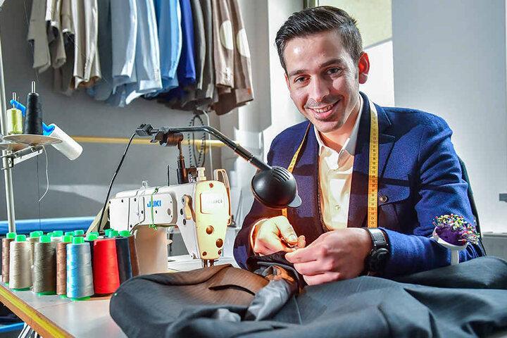Kam vor drei Jahren als Flüchtling nach Deutschland und fand bei Otto & Paul in Zwickau Arbeit: der syrische Schneider Rouni Jahamo (31).