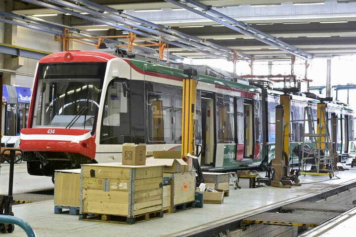 VMS Triebwagen CityLink im Depot der CVAG.