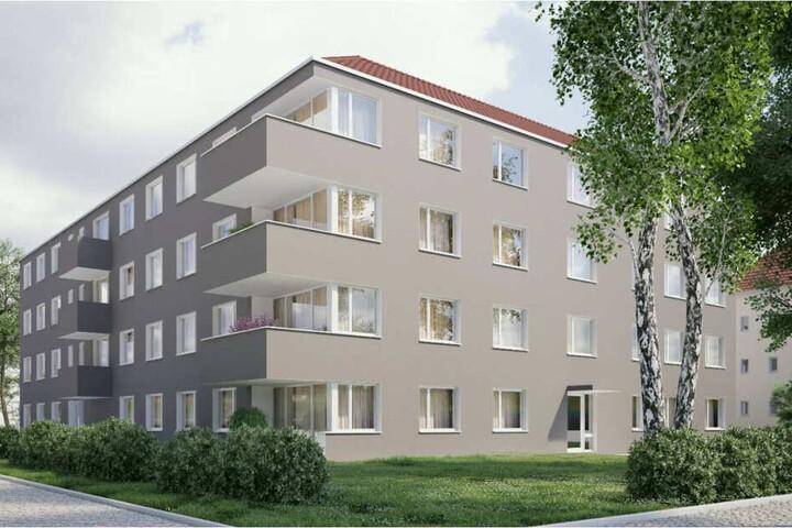 So soll das Haus mit 22 Wohnungen an der Ulmenstraße in wenigen Monaten aussehen.