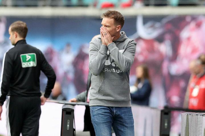 Drittes Bundesligaspiel in Folge ohne Sieg: RB-Coach Julian Nagelsmann kann's nicht glauben.