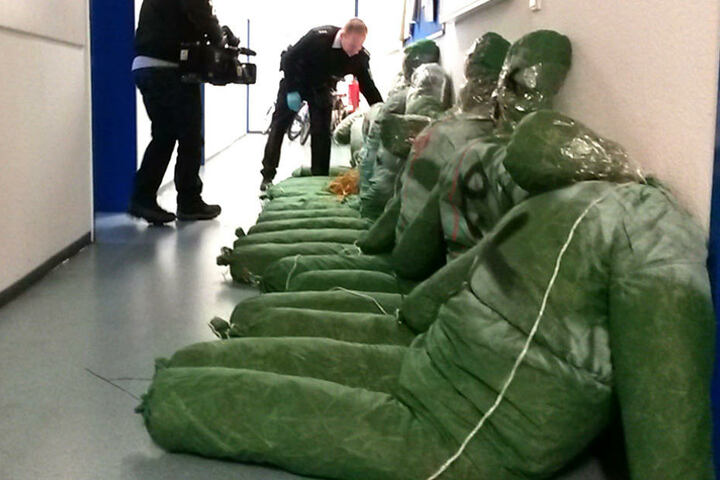 Als würden sie auf ihre Verhaftung warten: Die Puppen in Reih und Glied auf dem Revier.