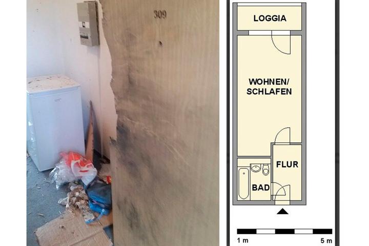 Der Flur: Hinter der zerstörten Wohnungstür stand der Kühlschrank. Rechts der Grundriss der Bombenwohnung (28 Quadratmeter).