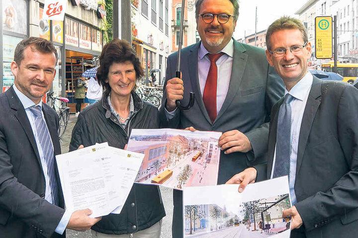 Freuen sich über den Fördermittelbescheid: Baubürgermeister Raoul  Schmidt-Lamontain (Grüne), Wissenschaftsministerin Eva-Maria Stange (SPD),  Staatssekretär Stefan Brangs (SPD), und DVB-Vorstand Andreas Hemmersbach.
