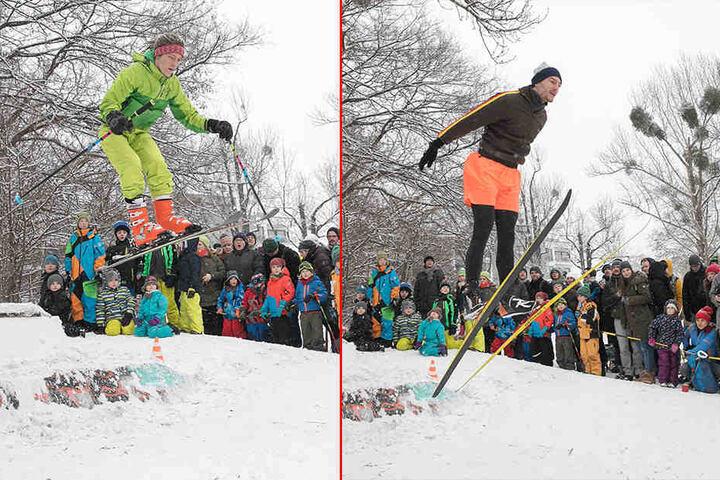 Bestnoten für Haltung und Outfit: Die Skispringer im Alaunpark sorgten für  mächtig Spaß.