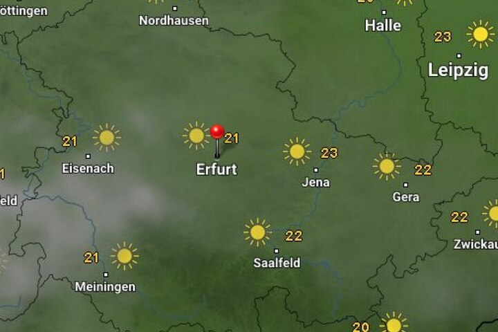 Sonne satt gibt es an Pfingsten in Thüringen.