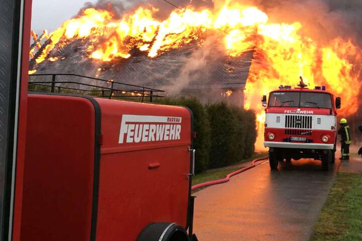 Zahlreiche Feuerwehr-Leute aus den umliegenden Gemeinden waren im Einsatz.