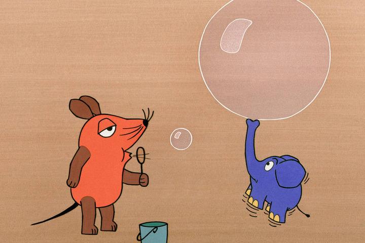 """Zeichnung von Friedrich Streich aus der ARD-Kindersendung """"Sendung mit der Maus""""."""