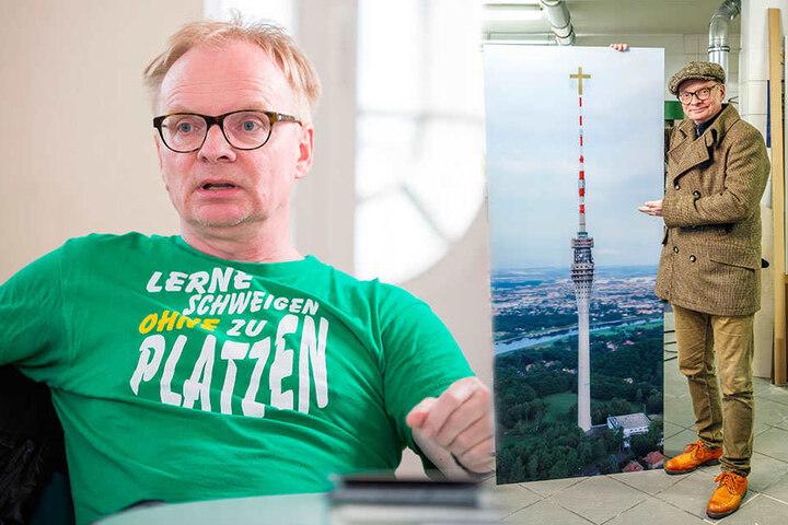 """Ernst gemeint: Der Komiker Uwe Steimle (54, r.) will den Fernsehturm zum """"Friedensturm"""" machen."""