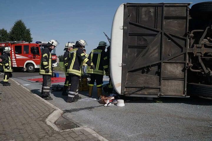 Bus umgekippt: Mehrere Insassen bei schwerem Unfall in Bohmte verletzt