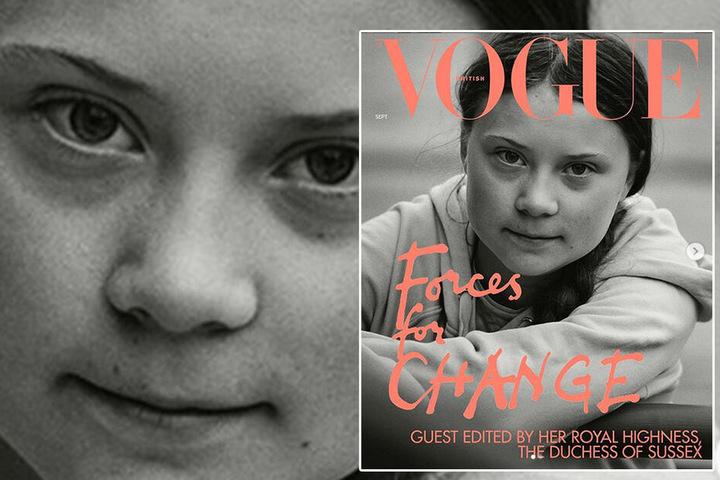 """Dank Herzogin Meghan (38) landete Greta neben 14 anderen Damen auf dem Cover der britischen """"Vogue""""."""