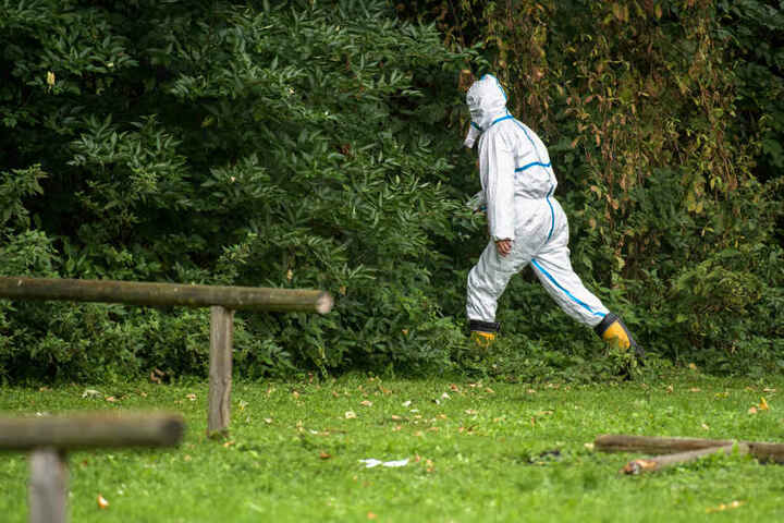 Die Ermittler suchten den Fundort der Leiche ab. Das Handy der Frau wird noch gesucht.