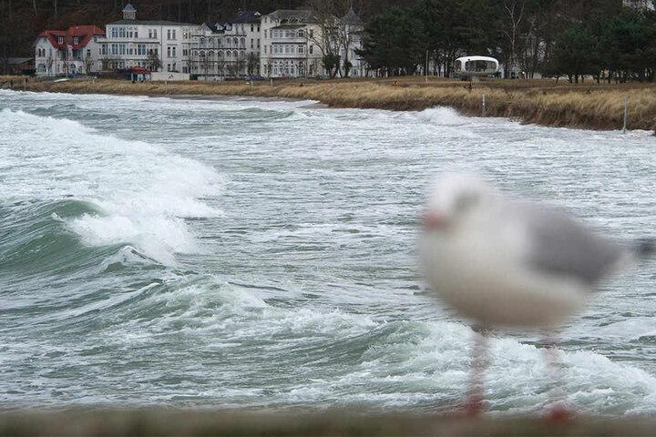 Rügen wurde bereits am Mittwochnachmittag von heftigen Wellen getroffen.